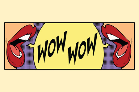 two female mouth shout wow. Cartoon comic illustration pop art retro style vector