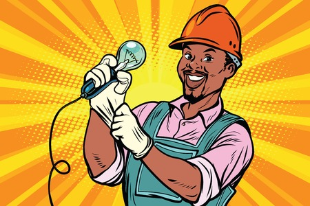 Construction worker with  light bulb Imagens - 79803093