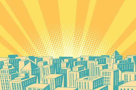 Pop-Art Sonnenaufgang über die moderne Stadt Standard-Bild - 79803094