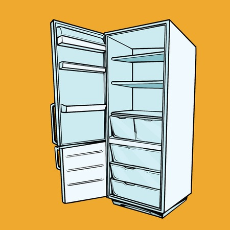 Open empty refrigerator. Comic cartoon style pop art retro vector color drawing illustration