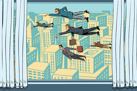 Businessmen fly past the window. Cartoon comic illustration pop art retro style vector