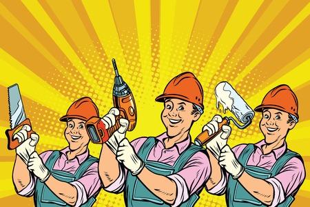 Stavební dělník s opravnými nástroji. Komiksové kreslené kreslené pop art retro barevné kresby vinobraní ilustrace