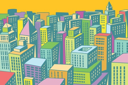 colorful buildings of the modern city background. Comic book cartoon pop art retro colored drawing vintage illustration