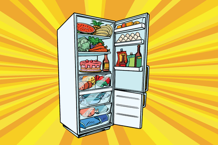 Home refrigerator filled with food. Fruits and vegetables, meat and fish. Comic cartoon style pop art retro vector color drawing illustration