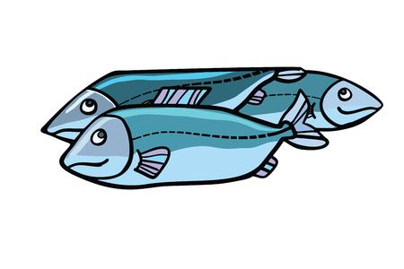 Vis voedsel illustratie. Zee- en rivierdieren. Stripverhaal stijl pop art retro vector kleur tekening Stock Illustratie