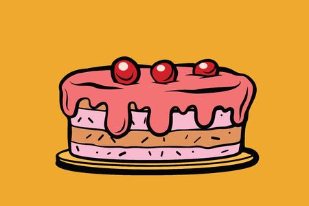 cherry berry cake. Comic cartoon style pop art retro vector color drawing illustration Illustration
