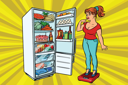 Young woman on scales, stand next to the refrigerator with food. Diet and weight-loss, fat people. A healthy lifestyle. Comic cartoon style pop art retro vector color drawing illustration