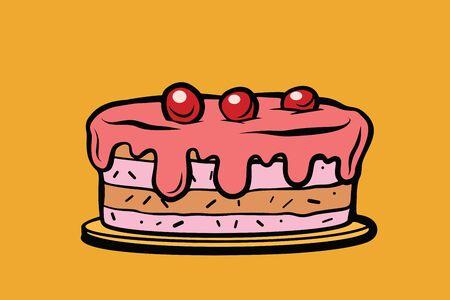 cherry berry cake. Comic cartoon style pop art retro vector color drawing illustration Stock Photo