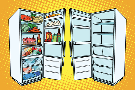 Two refrigerators. One with food and the other empty. Comic cartoon style pop art retro vector color drawing illustration Zdjęcie Seryjne - 80556902