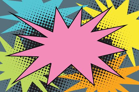 ピンク漫画バースト爆発ポップアート。漫画のスタイル レトロなカラー画像イラスト