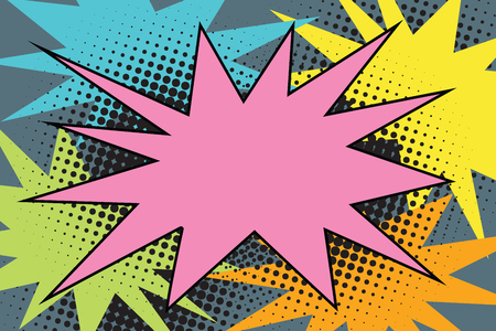 Pink comic burst explosion pop art. Cartoon style retro color picture illustration 向量圖像