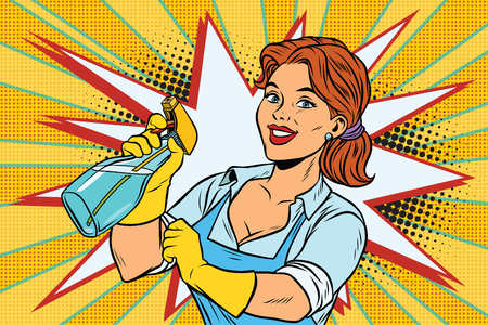 Cleaner with spray head for washing. Comic cartoon style pop art retro color picture illustration