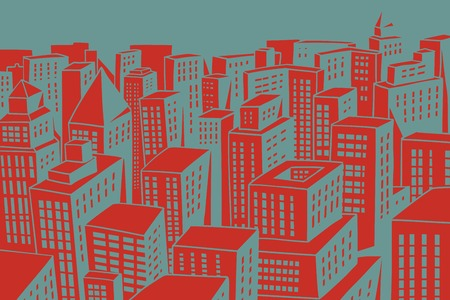 Red roofs of the modern city with skyscrapers. Comic book cartoon pop art retro colored drawing vintage illustration Çizim