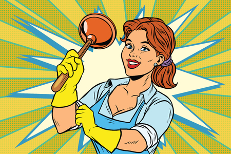Cleaner with a plunger. Comic cartoon style pop art retro color picture illustration Illustration