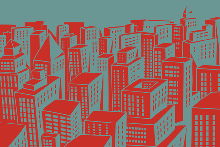 red roofs of the modern city with skyscrapers. Comic book cartoon pop art retro colored drawing vintage illustration Stok Fotoğraf