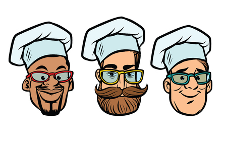 Head chefs multi-ethnic group. Comic cartoon style pop art retro vector illustration