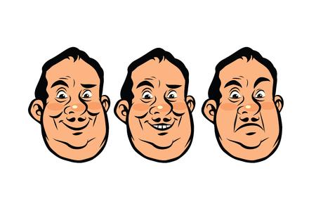 Trois émotions tête grasse Banque d'images - 81277465