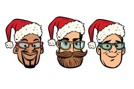 頭サンタ クロースの多民族のグループ。新年とクリスマス。コミック漫画スタイル ポップ アート レトロなベクトル イラスト 写真素材
