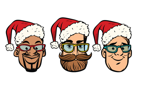 Head Santa Claus multi-ethnic group. New year and Christmas. Comic cartoon style pop art retro vector illustration