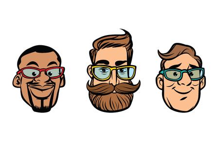 Head stylish guys, hipsters, multi-ethnic group. Comic cartoon style pop art retro vector illustration
