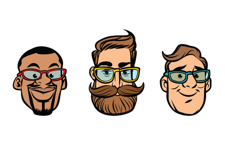 Head stylish guys, hipsters, multi-ethnic group. Comic cartoon style pop art retro vector illustration