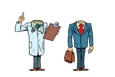 mockup layout without a head doctor and businessman. Comic cartoon style pop art retro vector illustration
