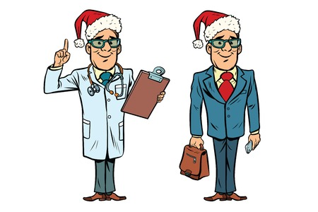 Happy Christmas doctor and businessman. Comic cartoon style pop art retro vector illustration