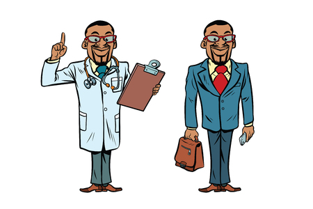 African doctor and businessman. African American people. Comic cartoon style pop art retro vector illustration