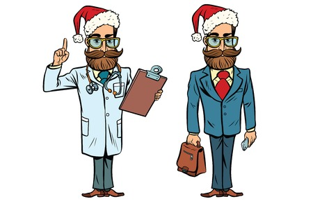 Hipster Christmas doctor and businessman. Comic cartoon style pop art retro vector illustration