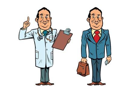 Smiling doctor and businessman. Comic cartoon style pop art retro vector illustration Stock Photo