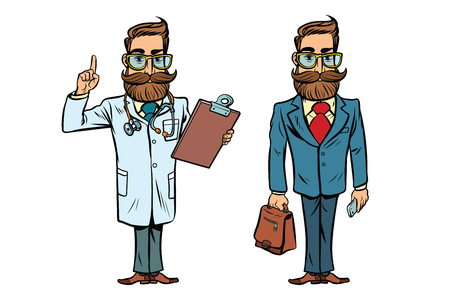 Hipster doctor and businessman. Comic cartoon style pop art retro vector illustration Stock Photo