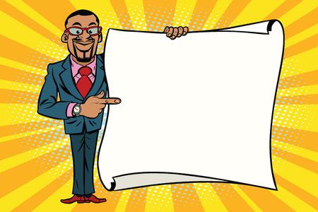 아프리카 계 미국인 사업가 복사본 공간 배경에 게재입니다. 만화 스타일의 팝 아트 복고풍 벡터 일러스트 레이션