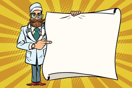 힙합 의사는 모형 복사본 공간 포스터에서 보여줍니다. 만화 스타일의 팝 아트 복고풍 벡터 일러스트 레이션