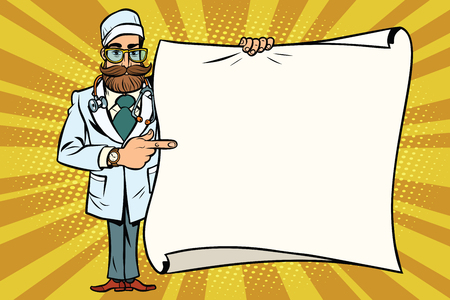 hipster doctor shows at a mockup copy space poster. Comic cartoon style pop art retro vector illustration Illustration
