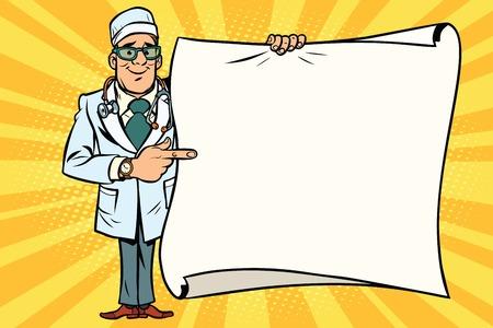 행복 한 의사와 안경 및 복사 공간 배경입니다. 만화 스타일의 팝 아트 복고풍 벡터 일러스트 레이션 스톡 콘텐츠 - 80905554