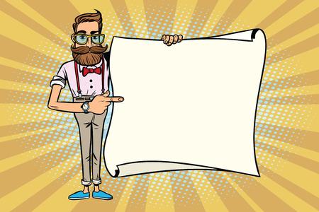 세련 된 hipster mockup 복사본 공간 포스터에 보여줍니다. 만화 스타일의 팝 아트 복고풍 벡터 일러스트 레이션
