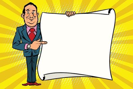 실업가 보스 mockup 복사본 공간 포스터에 게재 웃 고. 만화 스타일의 팝 아트 복고풍 벡터 일러스트 레이션 일러스트