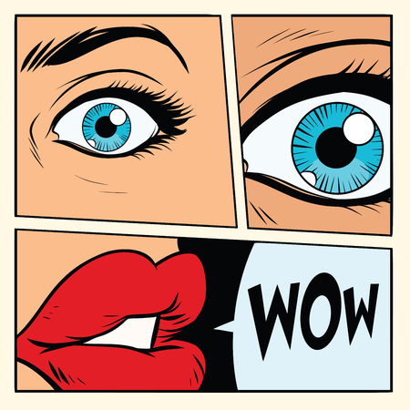 Comic storyboard woman wow surprised. Comic cartoon style pop art retro vector illustration Çizim