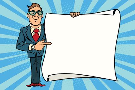 Vrolijke zakenman die op de mockup exemplaar ruimte poster wordt weergegeven. Stripverhaal stijl pop art retro vector illustratie