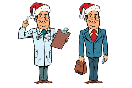 Smiling Christmas doctor and businessman. Comic cartoon style pop art retro vector illustration