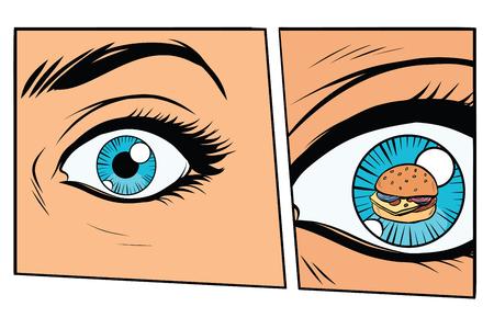만화 스토리 보드 배고픈 여자와 햄버거. 만화 스타일 팝 아트 복고풍 벡터 일러스트 레이션