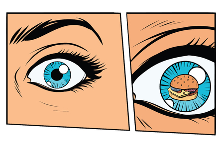 Femme affamée storyboard comique et Burger. illustration vectorielle de style cartoon pop art rétro Banque d'images - 80973503