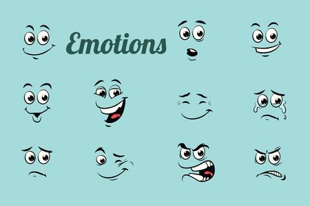 感情文字コレクションを設定します。独立した中立的な背景。レトロな漫画イラスト漫画 pop アート ベクトル