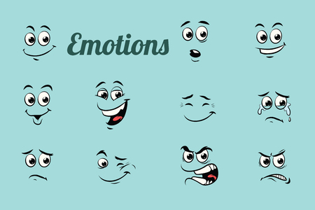 emotions characters collection set. Isolated neutral background. Retro comic book style cartoon pop art vector illustration Banque d'images