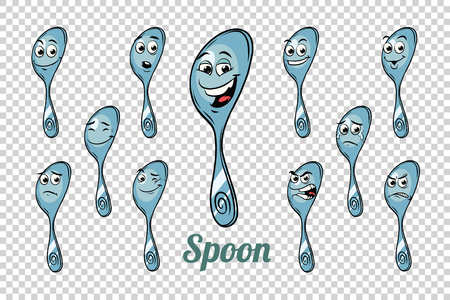 spoon emotions characters collection set. Isolated neutral background. Retro comic book style cartoon pop art vector illustration