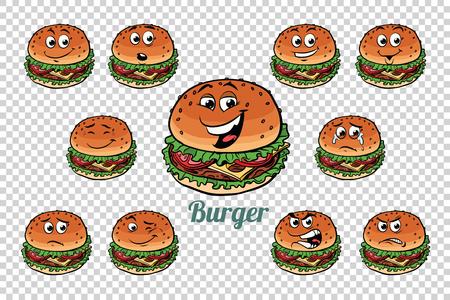 ハンバーガー ファーストフード感情文字コレクション セット。独立した中立的な背景。レトロな漫画イラスト漫画 pop アート ベクトル
