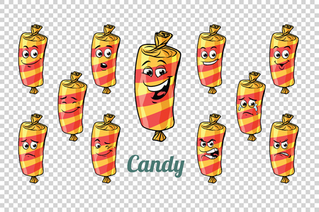 confectionery sweet candy in the wrapper emotions characters collection set. Isolated neutral background. Retro comic book style cartoon pop art vector illustration