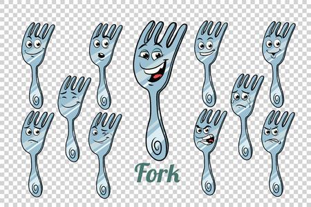 Ensemble de collection de personnages d'émotions diner fork. Fond neutre isolé. Retro comic book style dessin animé pop art illustration vectorielle Banque d'images - 82281085