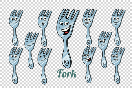 diner fork emotions characters collection set. Isolated neutral background. Retro comic book style cartoon pop art vector illustration