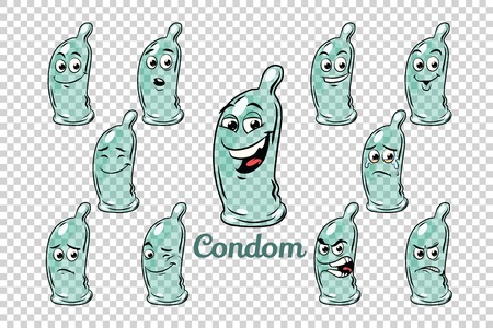 condom emotions characters collection set. Isolated neutral background. Retro comic book style cartoon pop art illustration Imagens